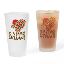 I Love Bacon White Drinking Glass