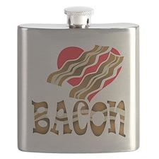 I Love Bacon White Flask