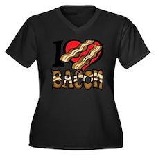 I Love Bacon Women's Plus Size Dark V-Neck T-Shirt