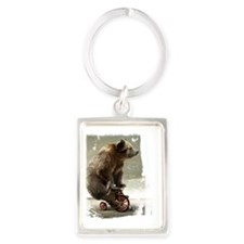 bear on tricycle10 Portrait Keychain