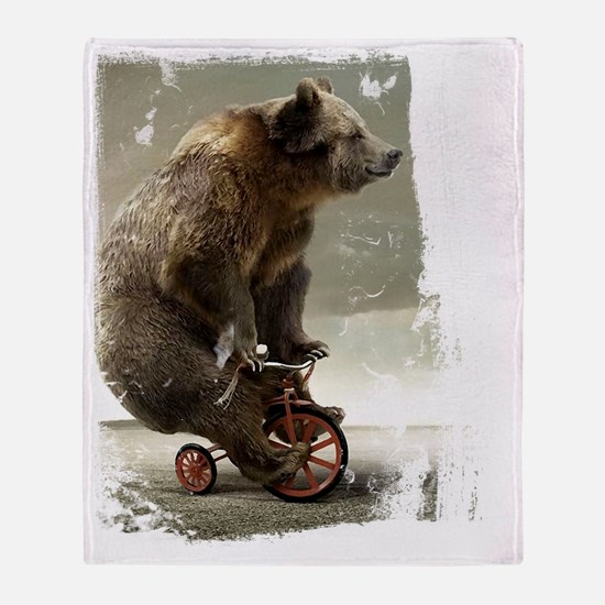 bear on tricycle10 Throw Blanket