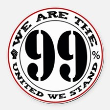 The 99% United We Stand-black Round Car Magnet