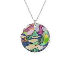 Chess Budgies (Note Card) Necklace
