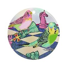 Chess Budgies (Note Card) Round Ornament