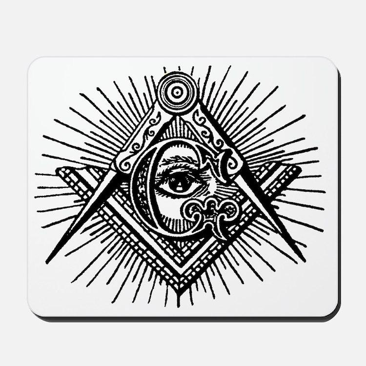 Masonic Square Compass and Eye Mousepad
