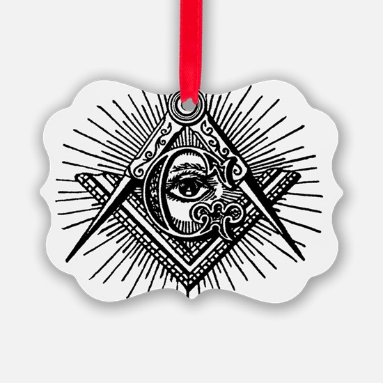 Masonic Square Compass and Eye Ornament