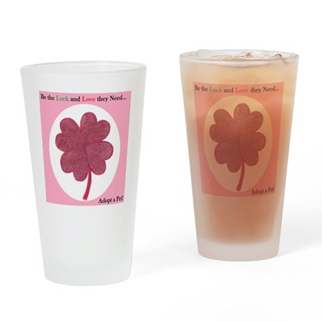 Red Hearts Clover Drinking Glass