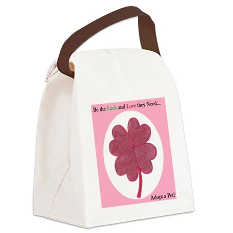 Red Hearts Clover Canvas Lunch Bag