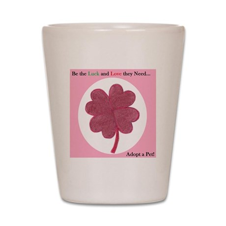 Red Hearts Clover Shot Glass
