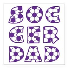 "white  purple, Dad block Square Car Magnet 3"" x 3"""