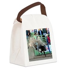 Black and White Bull Canvas Lunch Bag