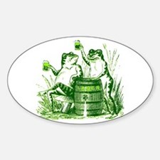 Drunk Frogs St Patricks Day Oval Decal