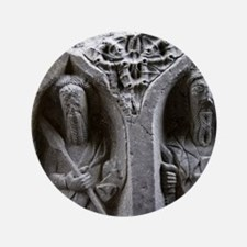 """Medieval stone carving of Saints at Je 3.5"""" Button"""