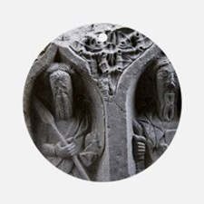 Medieval stone carving of Saints at Round Ornament