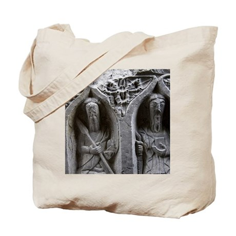 Medieval stone carving of Saints at Jerpo Tote Bag