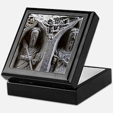 Medieval stone carving of Saints at J Keepsake Box