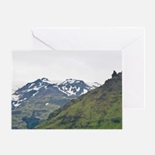 View of Icelandic Horses and Iceland Greeting Card