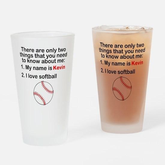 Two Things Softball Drinking Glass