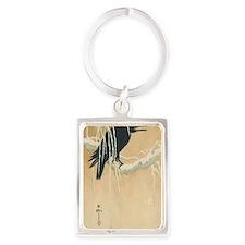 Winter Crow Portrait Keychain