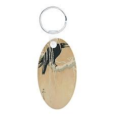 Winter Crow Aluminum Oval Keychain