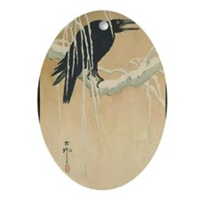 Winter Crow Oval Ornament