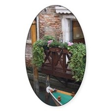 Italy, Venice. Boat tied to dock at Decal