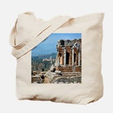 Smoke from erupting Mt. Etna is visible f Tote Bag