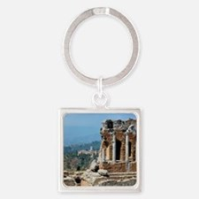 Smoke from erupting Mt. Etna is vi Square Keychain
