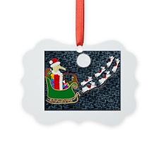 SantaDachshundKids Ornament