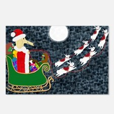 SantaDachshundPillow Postcards (Package of 8)