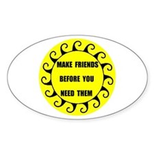 MAKE FRIENDS Oval Decal