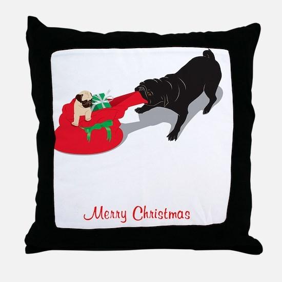 PugPullingBag Throw Pillow