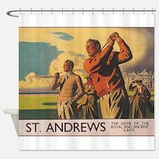 St. Andrews Scotland Vintage Golf Poster Shower Cu