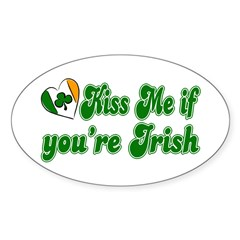 Kiss Me if You're Irish Oval Decal