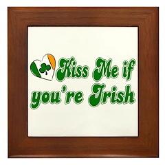 Kiss Me if You're Irish Framed Tile