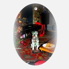 SantasStopMATTE Oval Ornament