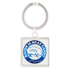 Meat Candy On White Black Burst Bl Square Keychain