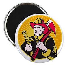 fireman firefighter holding ax fire hose Magnet