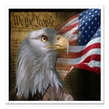 """We The People Eagle Flag Square Car Magnet 3"""" x 3"""""""