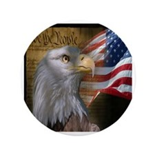 """We The People Eagle Flag 3.5"""" Button"""