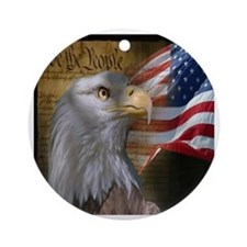 We The People Eagle Flag Round Ornament