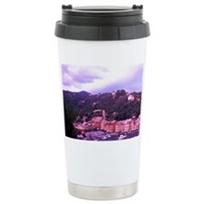 Beautiful Night Scene of Harbor Travel Mug