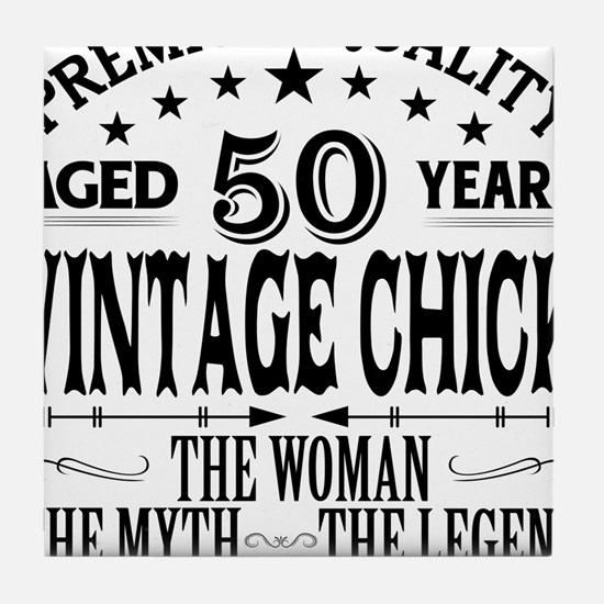 VINTAGE CHICK AGED 50 YEARS Tile Coaster