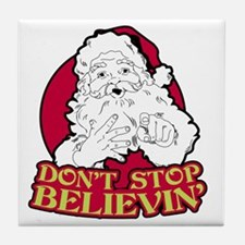 Dont Stop Believin BLK Tile Coaster