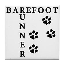 barefoot_runner_dog Tile Coaster