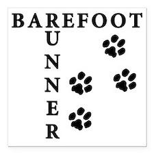 """barefoot_runner_dog Square Car Magnet 3"""" x 3"""""""