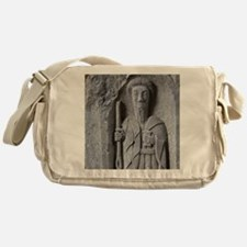 Medieval stone carving of a Saint at Messenger Bag
