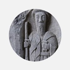 """Medieval stone carving of a Saint at J 3.5"""" Button"""