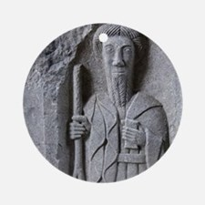 Medieval stone carving of a Saint a Round Ornament