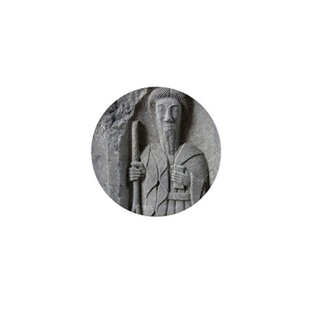 Medieval stone carving of a Saint at J Mini Button